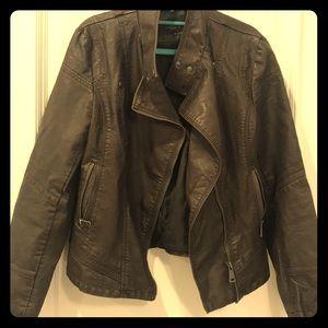 Medium dark brown leather biker jacket.